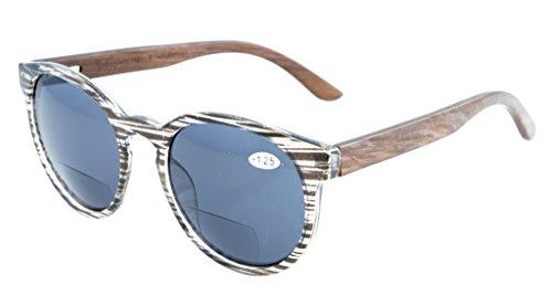 Eyekepper Qualitaet Federscharniere Holz Buegel Ovale runde bifokale Sonnenbrillen Frauen Grau Streifen +1.5