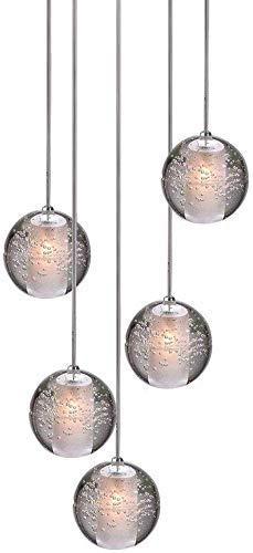 lampadario soggiorno palla KJLARS Lampade A Sospensione LED Moderna Plafoniere Altezza Regolabile Lampadari Adatto Per Soggiorno Tavolo Da Pranzo Scala Camera Da Letto Palla Di Cristallo Bicchiere 5 Palline