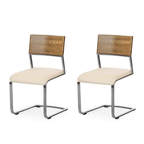 Amazon Marke -Alkove - Hayes - Moderner Massivholzstühle 2er Set mit gepolsterter Sitzfläche,...