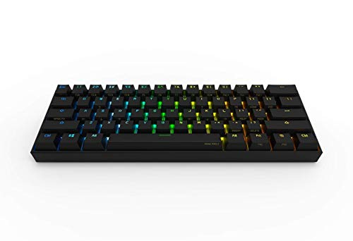 Obinslab Anne 2 Pro Mechanical Gaming Keyboard 60% True RGB Backlit - Wired/Wireless Bluetooth 4.0 PBT Type-c Up to 8 Hours Extended Battery Life, Full Keys Programmable (Kailh White, Black)