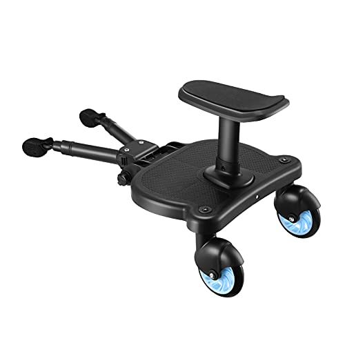 Buggy Board, TOPQSC Kiddy Board with Seat Standing Board, Stable Two Wheel Design, Pram Accessories, Universal Buggy Board,Maximum Load 25kg
