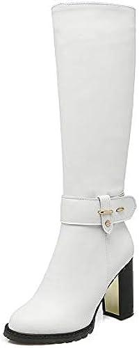 HOESCZS Western Style en Cuir PU 2019 Carré à Talons Hauts Zipper Au Genou Bottes Hautes Femmes Chaussures Moto Bottes Botte D'équitation Taille 34-43
