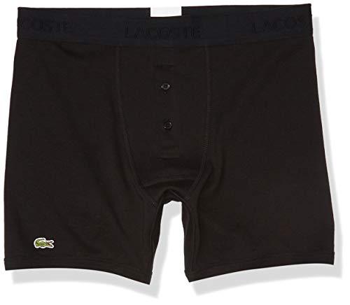 Lacoste Men's Essentials Classic 3 Pack 100% Cotton Boxer Briefs, Black, M