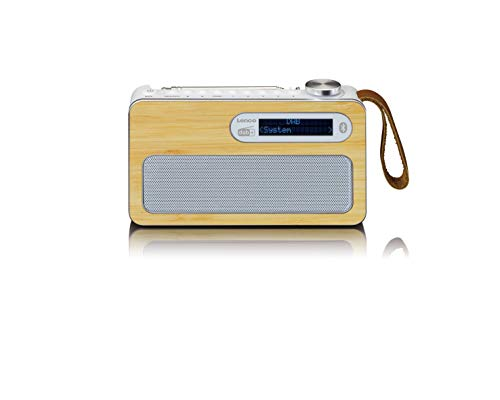Lenco PDR-040 - Radio portatile DBA+ - Radio FM - con Bluetooth - Batteria integrata da 2000 mAh - 3 Watt RMS - Funzione orologio e sveglia - in vero bambù - bianco