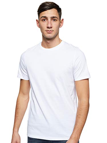 JACK & JONES Herren JJEORGANIC Basic Tee SS O-Neck NOOS T-Shirt, Weiß (White Detail: Slim), Large (Herstellergröße: L)