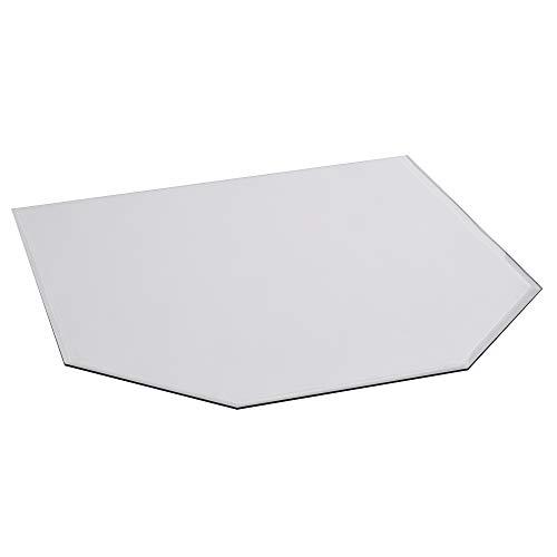 FIREFIX 1952/2 Glasbodenplatte (Hitzeschutz Ofen), Sechseck-Bodenplatte (1.000 x 1.100 x 825 mm), 8 mm Starkes Klarglas (Sicherheitsglas ESG) mit Facettenschliff (20 mm, umlaufend), Transparent