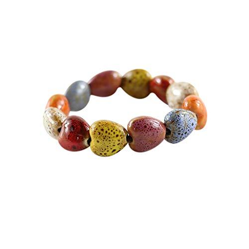 SDCAJA Bracelet for Women Creative Ethnic Style Flower Glaze Ceramic Beads Bracelet Ladies Jewelry Gift