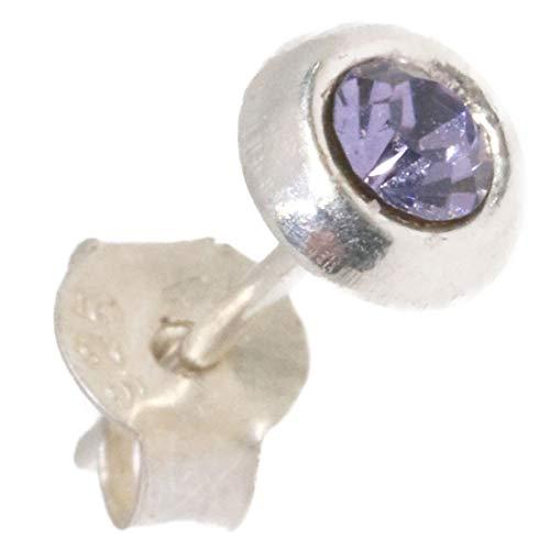 パープル ジルコニア ピアス ワンポイント 本物シルバー925 片方 パワーストーン 片耳 片方販売ピアス メンズ レディース イヤリング