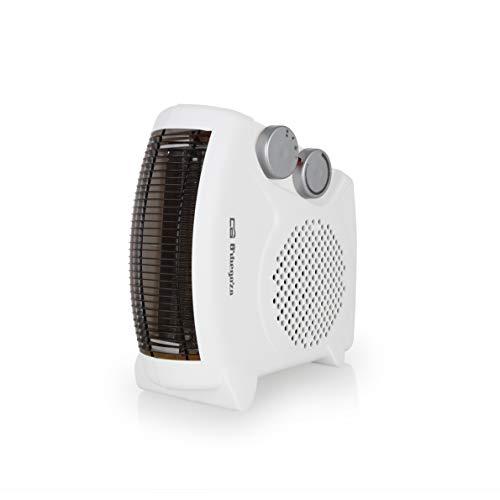 Orbegozo FH 5040 Calefactor eléctrico 2 en 1 (vertical y horizontal) con termostato regulable, 2000W de potencia, 2 posiciones de calor y función ventilador de aire frío, Negro
