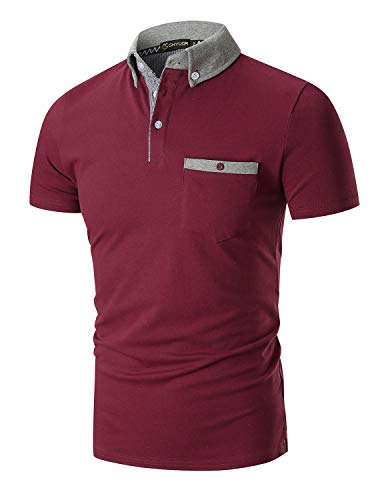 YIPIN Hombre Polo de Manga Corta Color de Contraste Golf Camisa Poloshirt Negocios Camiseta Tennis Verano T-Shirt