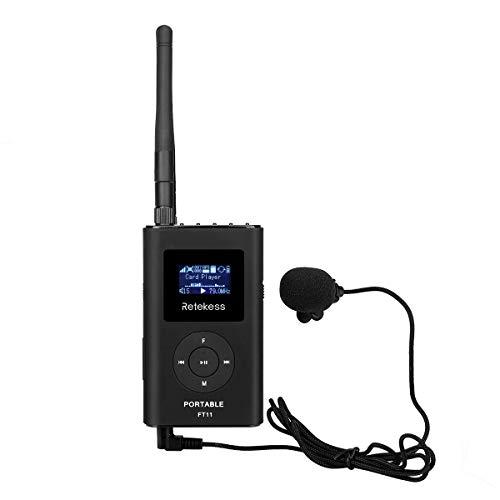 Retekess FT11 FM-sändare MP3 radiosändare bärbar reseguidsystem för campus undervisning och konferenspresentation (svart)