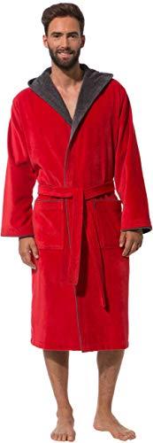 Morgenstern Bademantel für Herren aus Baumwolle mit Kapuze in Rot Baumwoll Bademantel knöchellang Frottee Mantel Velours Grösse L