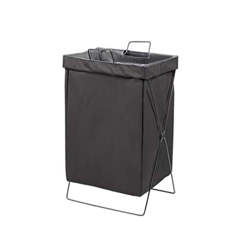 RongWang Foldable Dirty Laundry Basket Waterproof Fabric Storage Basket For Clothes Toys Household Bathroom Laundry Organizer Bags (Color : Black)