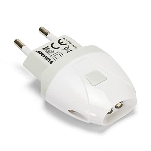 Velamp LUCCIOLA Antorcha de emergencia automática con función de luz de cortesía, LED, 1 W, Blanco, 7.96 x 4.9 x 2.42 cm