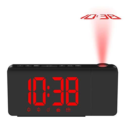 Bedler Reloj de Alarma de proyección LED operado por USB Regulable Radio FM Reloj de Escritorio con proyector Giratorio Alarmas Dobles Función de Despertador - Rojo Despertador de proyección