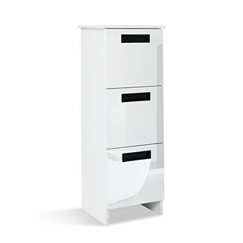 Mondeer Badezimmerschrank, Badschrank aus Holz mit 3 Schubladen Schmal Hochglanz Weiß, 35x30x95cm