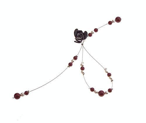 1 Burgund und weiße Spirale Haarspange Nr. 1, Hochzeit Haarschmuck