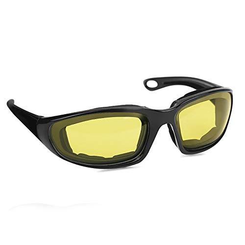 24 JOYAS Gafas Moto con Almohadillas Protectoras del viento para Ciclistas y Motoristas Unisex (Amarillo)