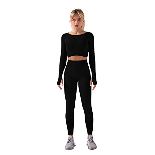 Whitzard Conjunto de entrenamiento de 2 piezas para mujer, manga larga, sin costuras, para gimnasio, con top corto y pantalones cortos de yoga, Pantalones de color negro., S