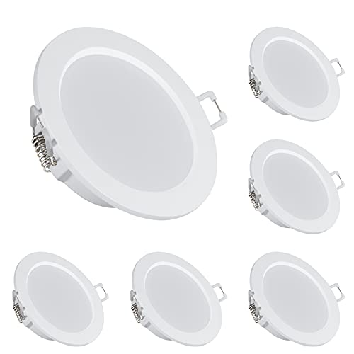 bapro 6x Foco Empotrable LED Techo, 6W 500LM 4000K Downlight Redondo Extraplano, para Ojos de Buey/Baño/salón/dormitorio/cocina(Blanco natural)