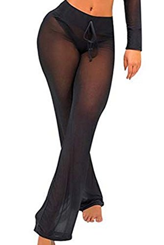 DOUDOU Women's Beach Sheer Mesh Legging Pant See Through Bikini Bottom Swimsuit Cover up (L, Black)