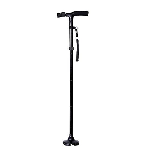 ZLJ Foldable walking stick with led light safety walking stick Reliable 4-head swivel base for old man handlebar Trekking poles Trekking pole
