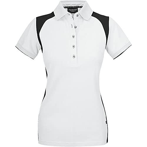 Texstar PSW7 Damen Stretch Pikee Hemd mit Drei Knöpfen, Größe S, Weiß