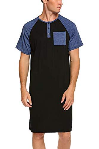 Camisones para Hombre Ropa De Dormir Casual Manga Corta Camisa De Henley Pijama