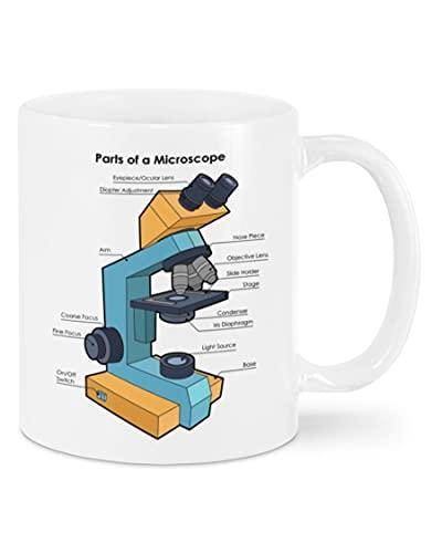 Part Of Microscope Mug With Handle, Insulated Ceramic Reusable Coffee Cup, Coffee Travel Mug