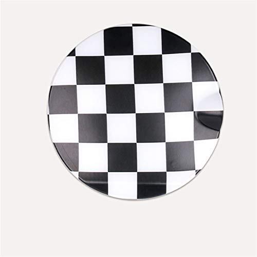 LHSM Filler Lid Decoration Cover Fuel Tank Cap Styling Sticker For M-INI For C-OOPER F55 F56 Car Accessories Exterior Modification Cover Cap Decoration Stickers (Color : Black white plaid)