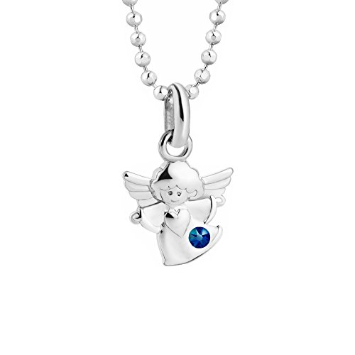 butterfly Bambine Ragazze Catena Argento Swarovski Elements Originali Ciondolo Angelo Custode blu Lunghezza Regolabile Sacchetto Stoffa Regalo Ragazza Bambina Gioielli