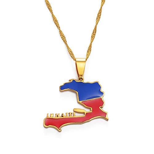 FDDSSYX Collar De Mapa,Creatividad Me Encanta Haití Collares para Mujeres Hombres Haití Mapa Colgante Collares Encanto Hip Hop Oro Color Joyería Joyería Regalo De Moda para Hombres Señoras Fiesta