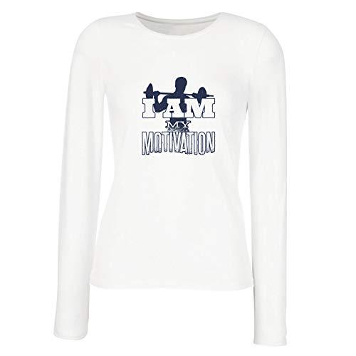 lepni.me Weibliche Langen Ärmeln T-Shirt Ich Bin Meine Motivation, Gewichtheben, Kniebeugen, Kreuzheben (Large Weiß Mehrfarben)