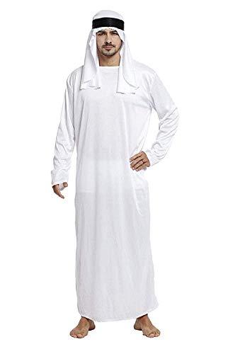 Kostuum - vermomming - carnaval - halloween - arabisch - moslim - witte kleur - volwassenen - man - jongen - one size - cadeau-idee voor kerst en verjaardag cosplay