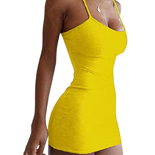 Sexy Bodycon for Women Skinny Backless Mini Club Party Dresses Tight Sleeveless Spaghetti Strap Tank Dress (Yellow,Small)