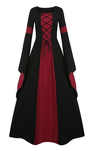 Meilidress Women Medieval Dress Lace Up Vintage Floor Length Cosplay Retro Long Dress (XXX-Large, Red)