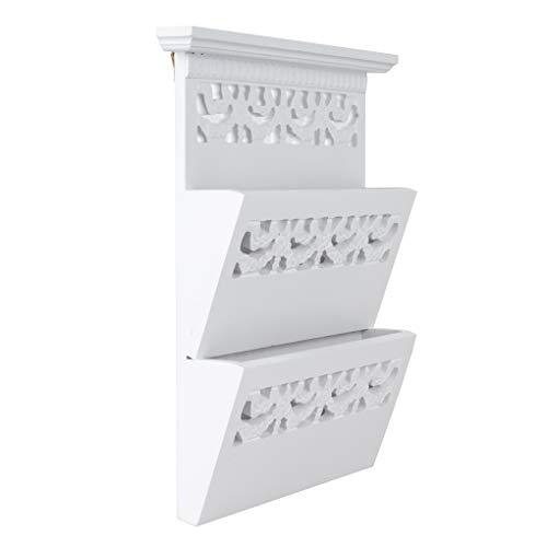 elbmöbel Zeitungshalter Wand für die Post, Magazine, Dokumente in weiß aus Holz Zeitungsständer mit Zwei Ablagen Dokumentenhalter (Weiß, H34 x B28 x T6cm)