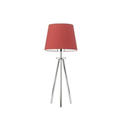 Bergen - Lámpara de escritorio con pantalla de lámpara, color rojo y cromo