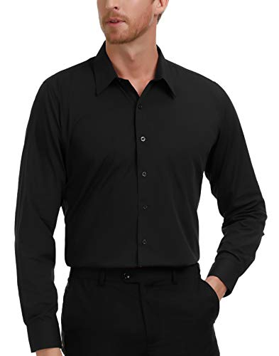 PAUL JONES Mens Casual Slim Fit Dress Shirts Black(L)