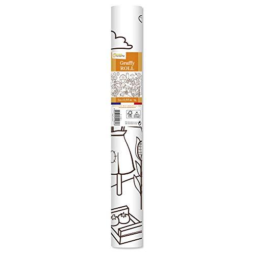 Avenue Mandarine GY082C Graffy - Rotolo di carta da disegno, 90 g, 5 m x 0,35 m, per pennarelli e pennarelli