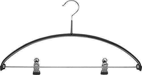 MAWA Economic/PK Kombi-Bügel, Kleiderbügel aus profiliertem Stahlband, rutschhemmend ummantelt, Steg mit 2 verstellbaren Clips, 40 cm Breite, schwarz
