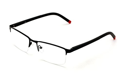 V.W.E. Men Half Rimless Rectangular Non-prescription Glasses Frame Clear Lens Eyeglasses Slim (Black)