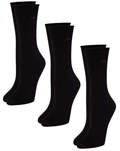 Calvin Klein Women's 3 Pack Cotton Roll Top Crew Socks, Black, 6-9.5