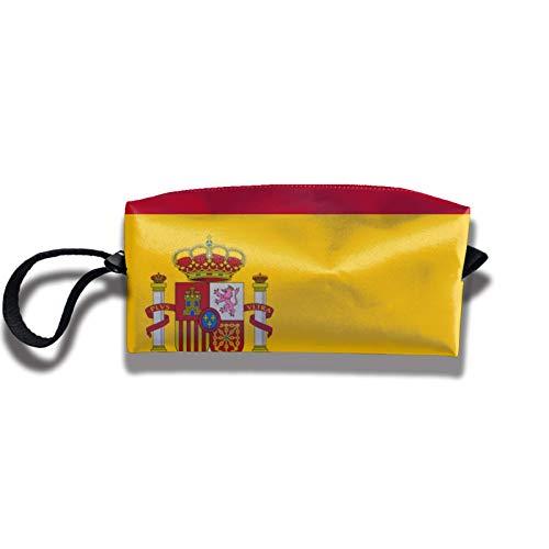 Travel Makeup Bag 2.5x3.5x9 in Spain Flag Travel Handbag Cosmetics Bag Case Purse Travel Home Portable Make Up Receive Bag