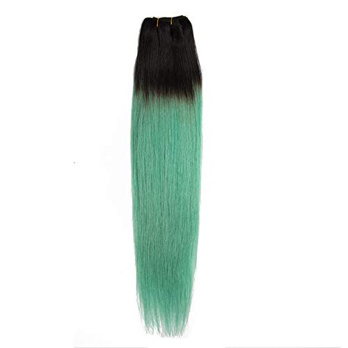 WYHP Steil haar Pruiken, Dames Braziliaanse pruiken echt haar, Emerald Green Hair Bundles Zonder Lijm Lace Wig (Color : Green, Size : 12 inch)