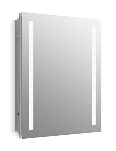 KOHLER K-99007-TL-NA Verdera 24 inch x 30 inch LED Lighted Bathroom Medicine Cabinet, Slow Close Hinge, Internal Magnifying Mirror; Aluminum; Recess or Surface Mount (Surface Mount Medicine Cabinet With Mirror And Lights)