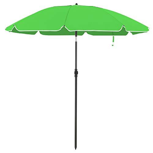 SONGMICS Sonnenschirm für Strand, Ø 200 cm, Gartenschirm, UV-Schutz bis UPF 50+, knickbar, Sonnenschutz, tragbar, Schirmrippen aus Glasfaser, grünGPU65GNV1