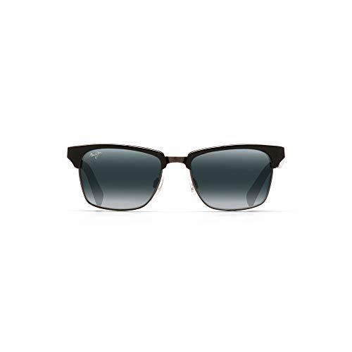 Maui Jim Kawika w/ Patented PolarizedPlus2 Lenses Polarized Fashion Sunglasses, Black Gloss W/Antique Pewter/Neutral Grey Polarized, Medium