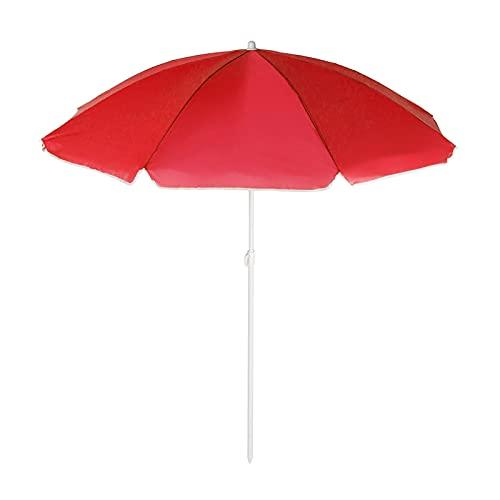 4 Farben Winddicht Regenschutz Strand Regenschirm Große Polyester Stoff Regenschirm Sonnenschutz Strand Regenschirm Für Den Außenbereich 1,8m Durchmesser (Color : Red)
