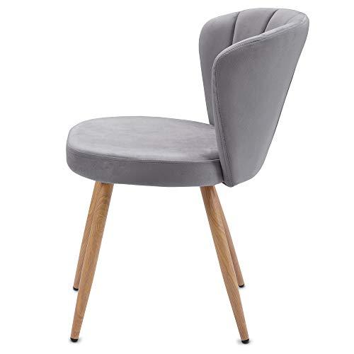 Keebgyy Juego de sillas de comedor de terciopelo, sillas de cocina, sillas de salón con respaldo, estilo vintage, acolchadas, cómodas y cómodas